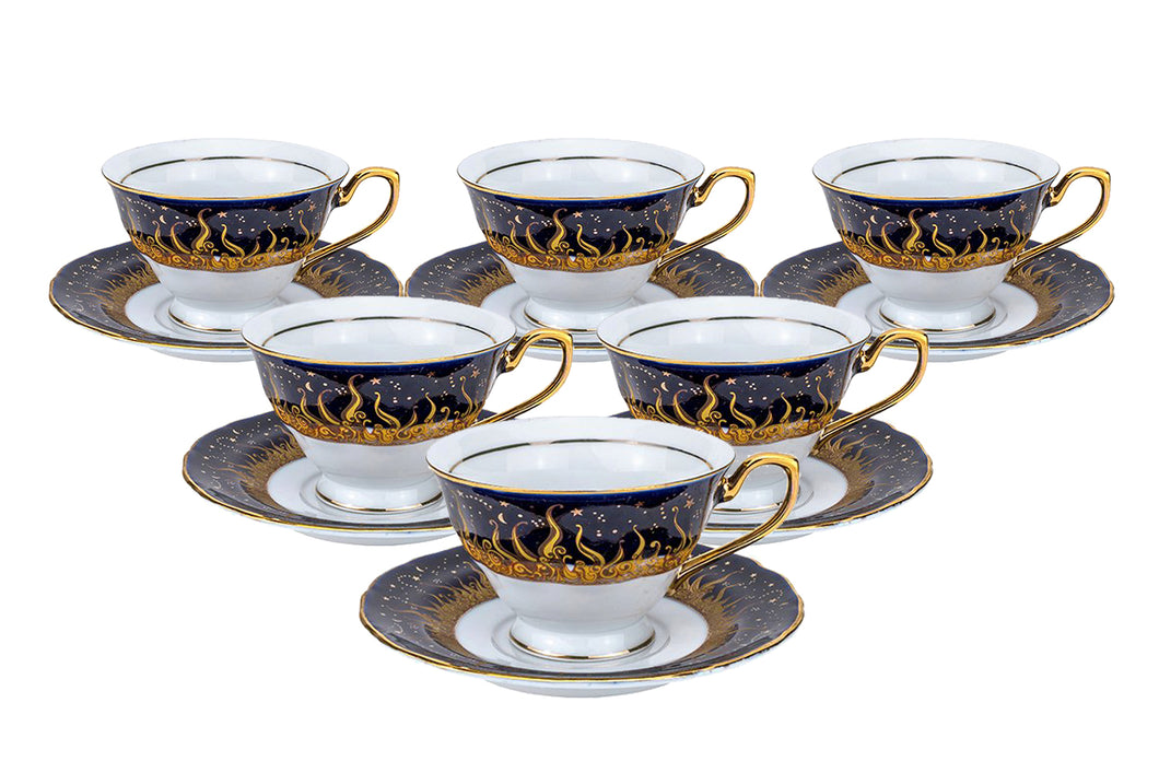 Royalty Porcelain 12-pc Tea or Coffee Cup Set for 6, Bone China (1109-12)
