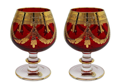 Interglass Italy Set of 2 Crystal Red Cognac Snifters DOF glasses, 24K Gold
