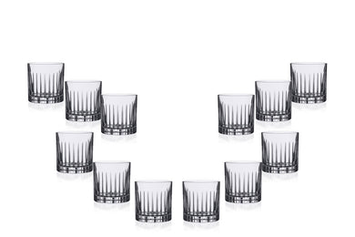 Timeless Dof Glasses 12 Oz, Crystal Cut, Party Glassware Set of (12)