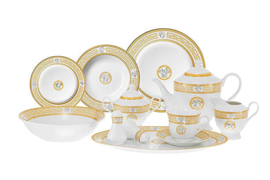 Royalty Porcelain 49-pc Dinner Set Medusa, Greek Key, Banquet Set Service for 8
