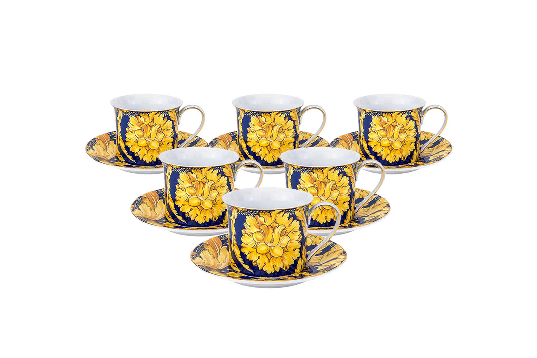 Royalty Porcelain Luxury Tea or Coffee Cup Set, 24K Gold (12 PC, Floral Blue)