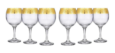Elegant Crystal Wine Goblet Stem Glasses 6-pc, Greek Key 'Medusa', Hand Blowed