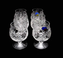 6 Russian CUT Crystal Cognac Snifters 150ml/5oz Hand Made