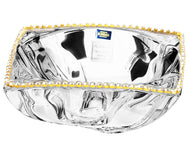Italian Collection Crystal Wavy Bowl, Decorated with Swarovski Crystal