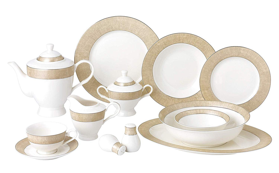 Royalty Porcelain Vintage Gold Pattern 6-pc Place Setting 'Marilyn', Premium Bone China
