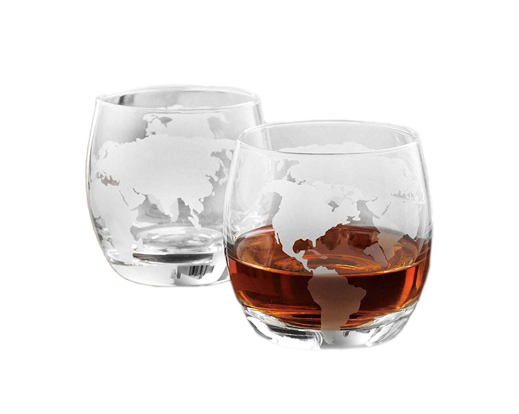 Denizli Etched Globe DOF 10 Oz Whisky Glasses, Liquor Glassware, Set of 2