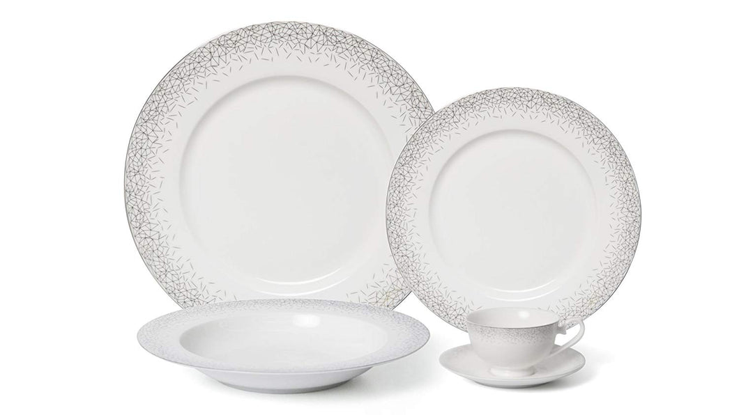 Royalty Porcelain 5-pc Dinner Set for 1, Bone China (Infinity Platinum)
