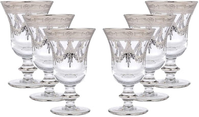 Interglass Italy 6-pc Luxury Crystal Wine Goblet Glasses, Vintage Design, Platinum