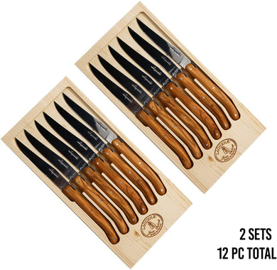 (D) Laguiole Steak Knives Set of 6 Non Serrated Stainless Steel Set 2 PACK
