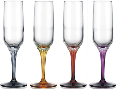Jewels 7 Oz Multicolor Champagne Flute Glasses 4pc Set, Modern Style Glassware