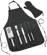 (D) Professional BBQ Grill Tools Set with Apron for Outdoor Cooking