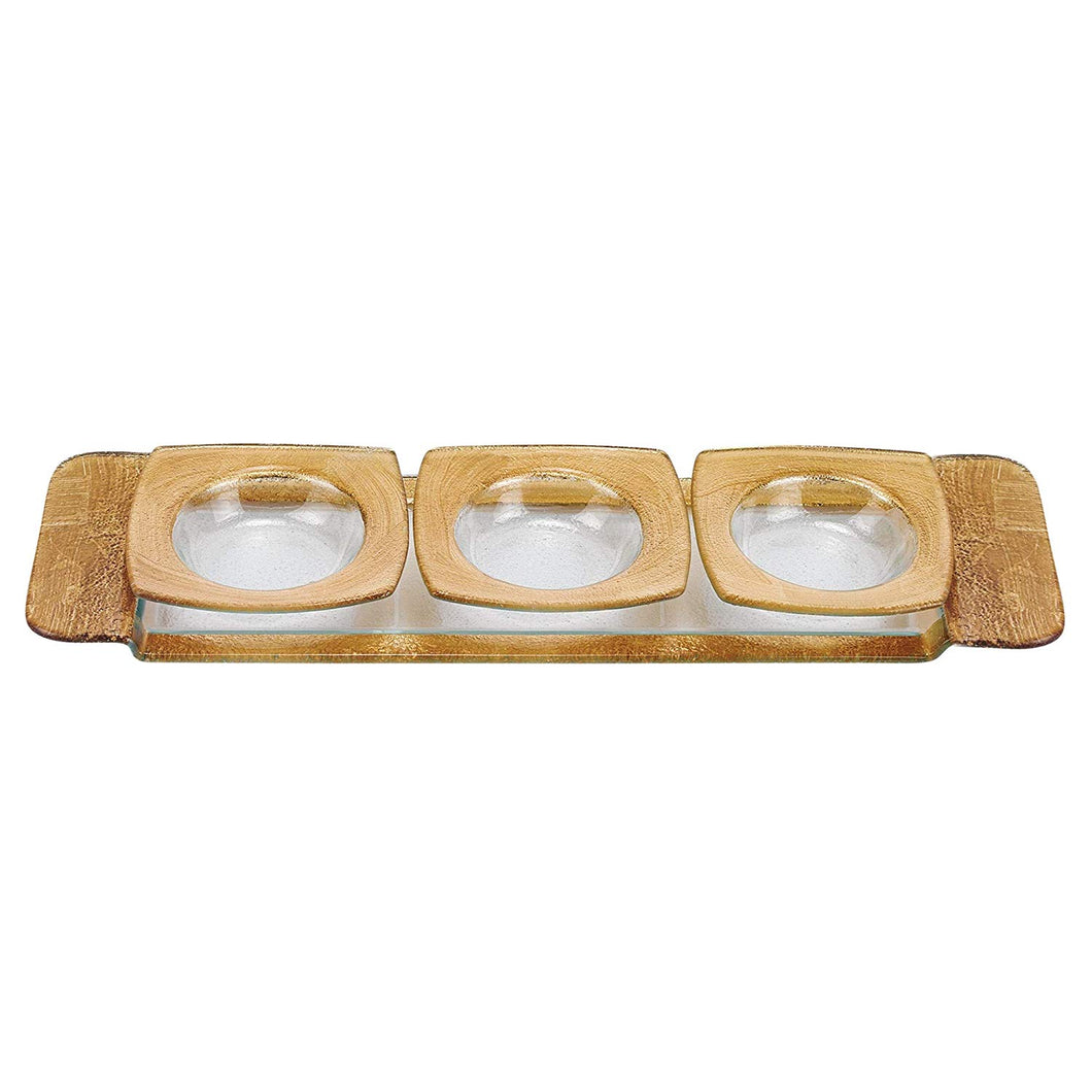 (D) Metallic Gold Glass 4-pc Serving Set, Rectangular Serving Platter with Bowls