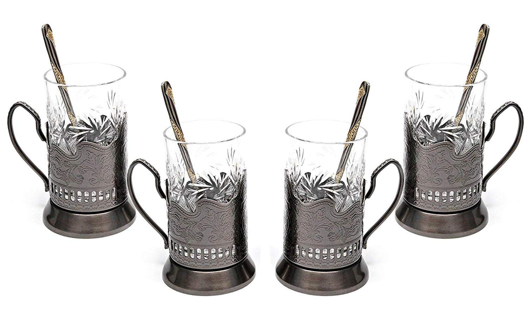 Belarus Cut Crystal Glass (Set of 4) with Metal Glass Holders and Teaspoons