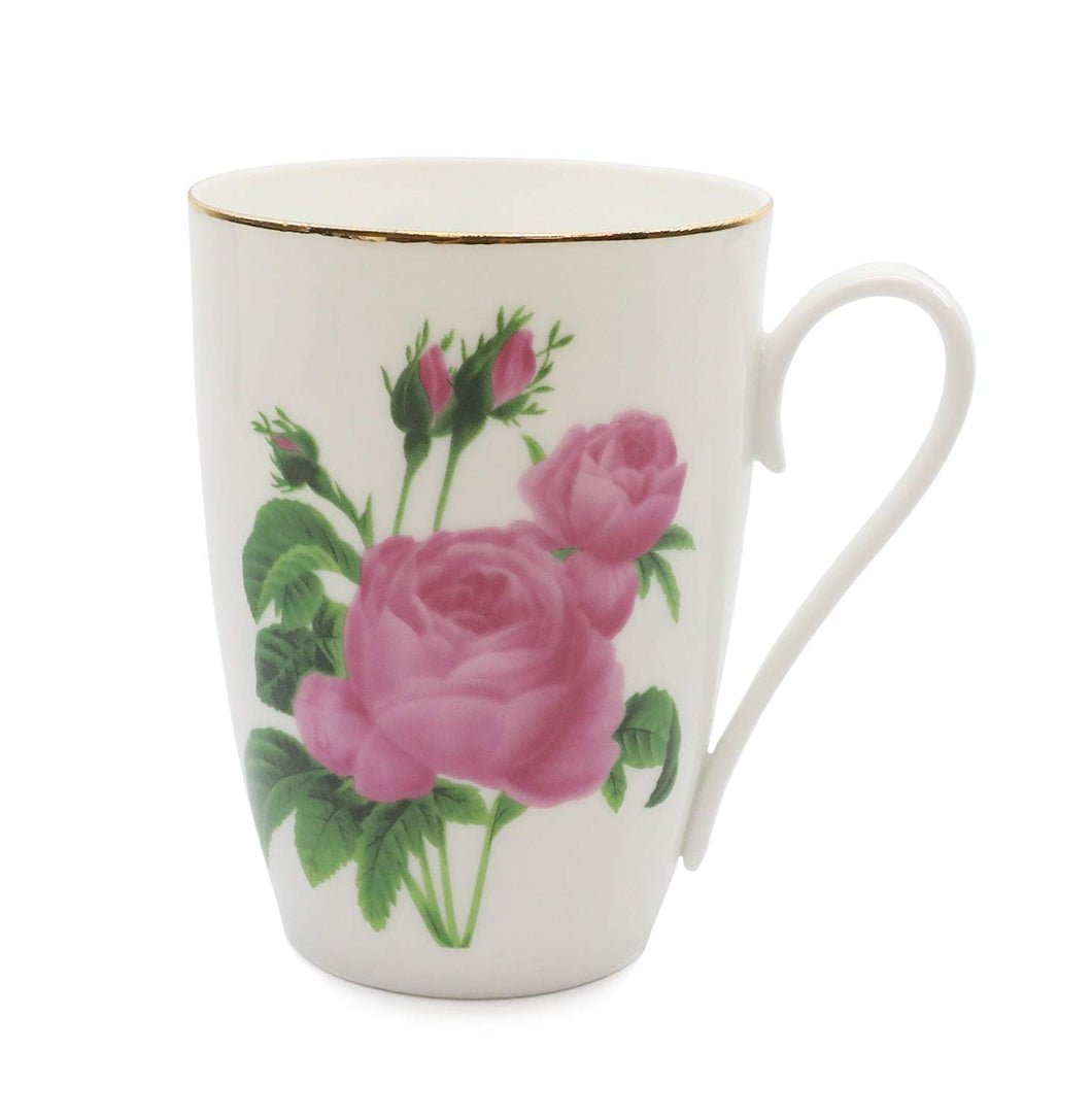 Royalty Porcelain Mug for Tea or Cofee, Gold, Bone China Porcelain (Rose White)