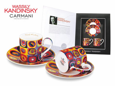 Carmani Painters 4pc Espresso Coffee Set, Wassily Kandinsky Series (Color Study)