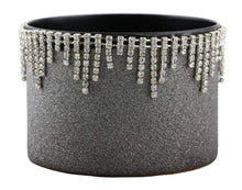 (D) Decorated Wine Coaster, Silver With Crystal Strands, Wine Bottle Holder
