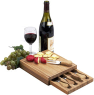 (D) Bamboo Cheese Board, Wooden Board with 4 Serving Utensils