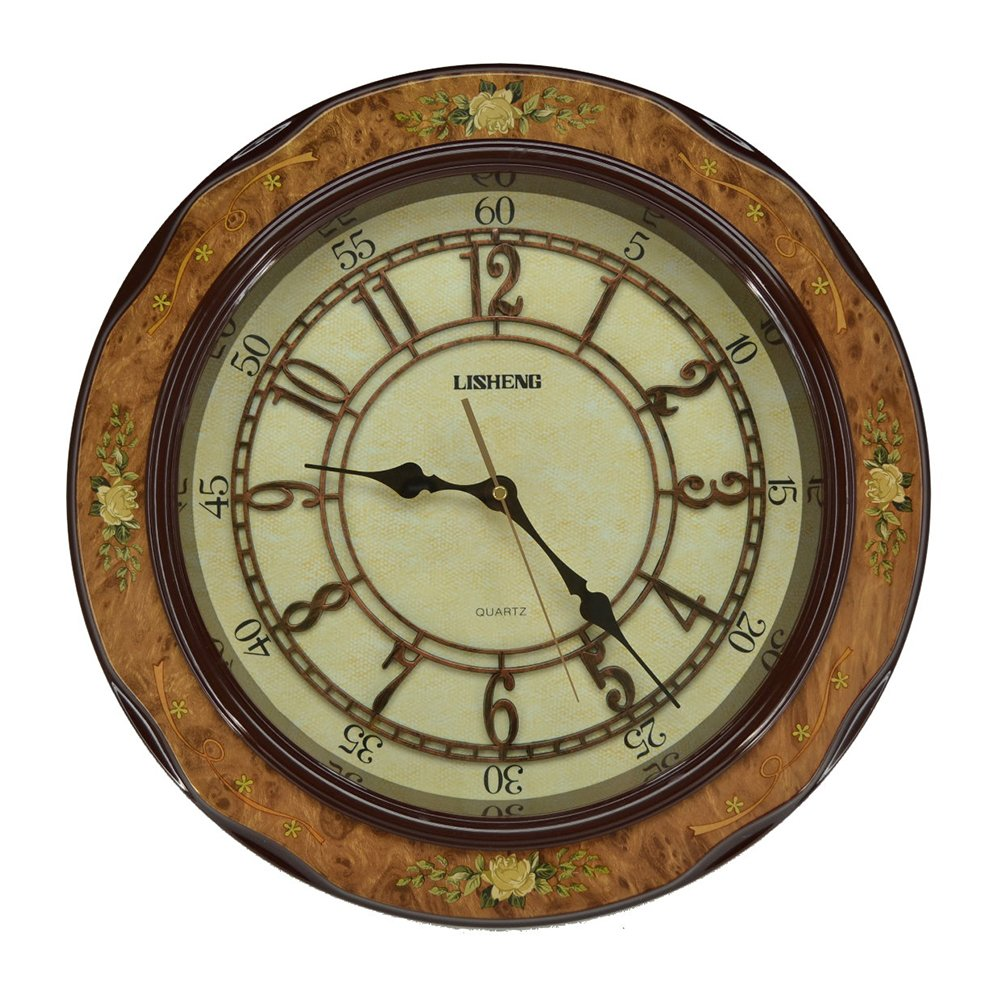 (D) Elegant Round Wall Clock 18 inches with Flowers