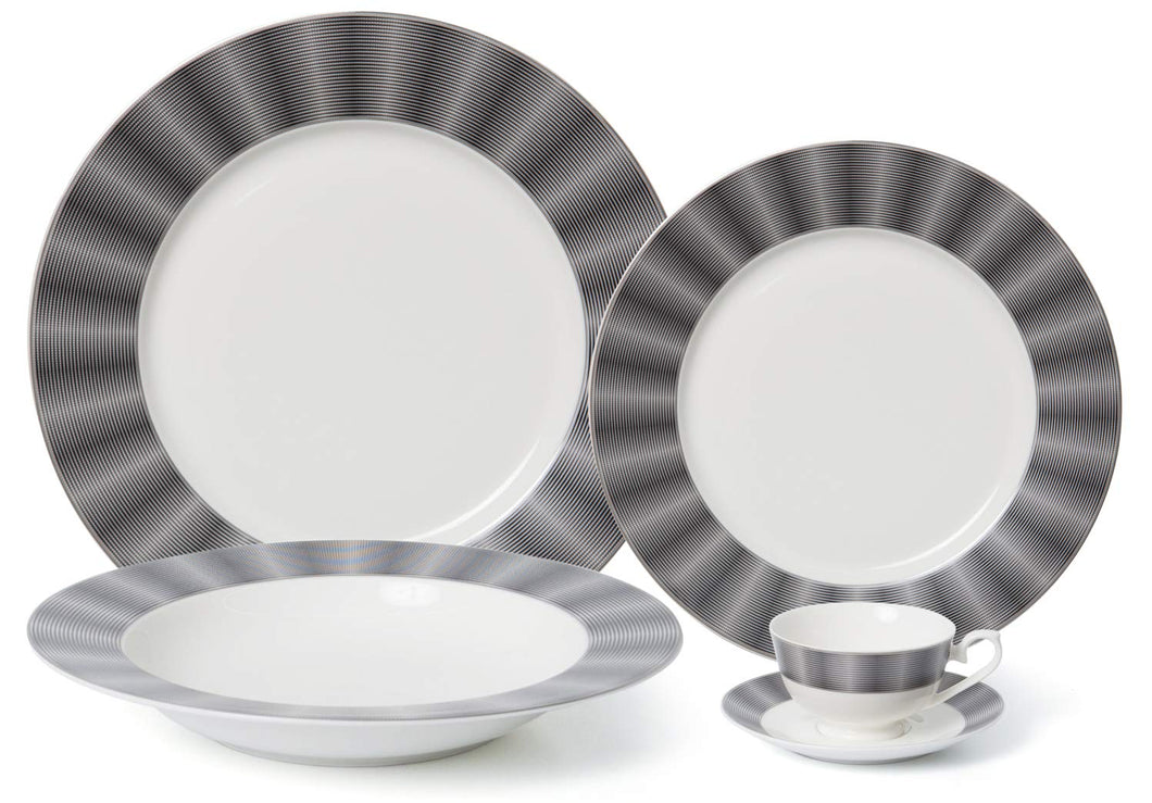 Royalty Porcelain Vintage Dark Cobalt Stripe 5-pc Place Setting 'Edina', Premium Bone China Porcelain
