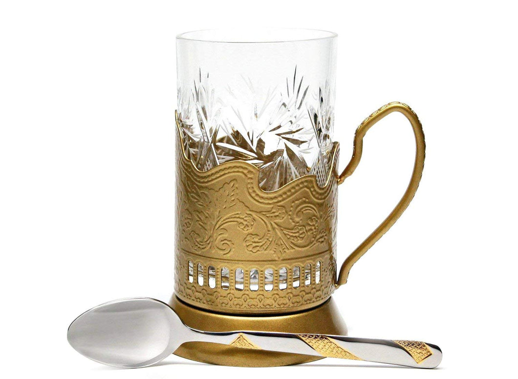 Russian Crystal Hot Tea Glass 8.5Oz, Glass Holder Podstakannik, Teaspoon, Gold