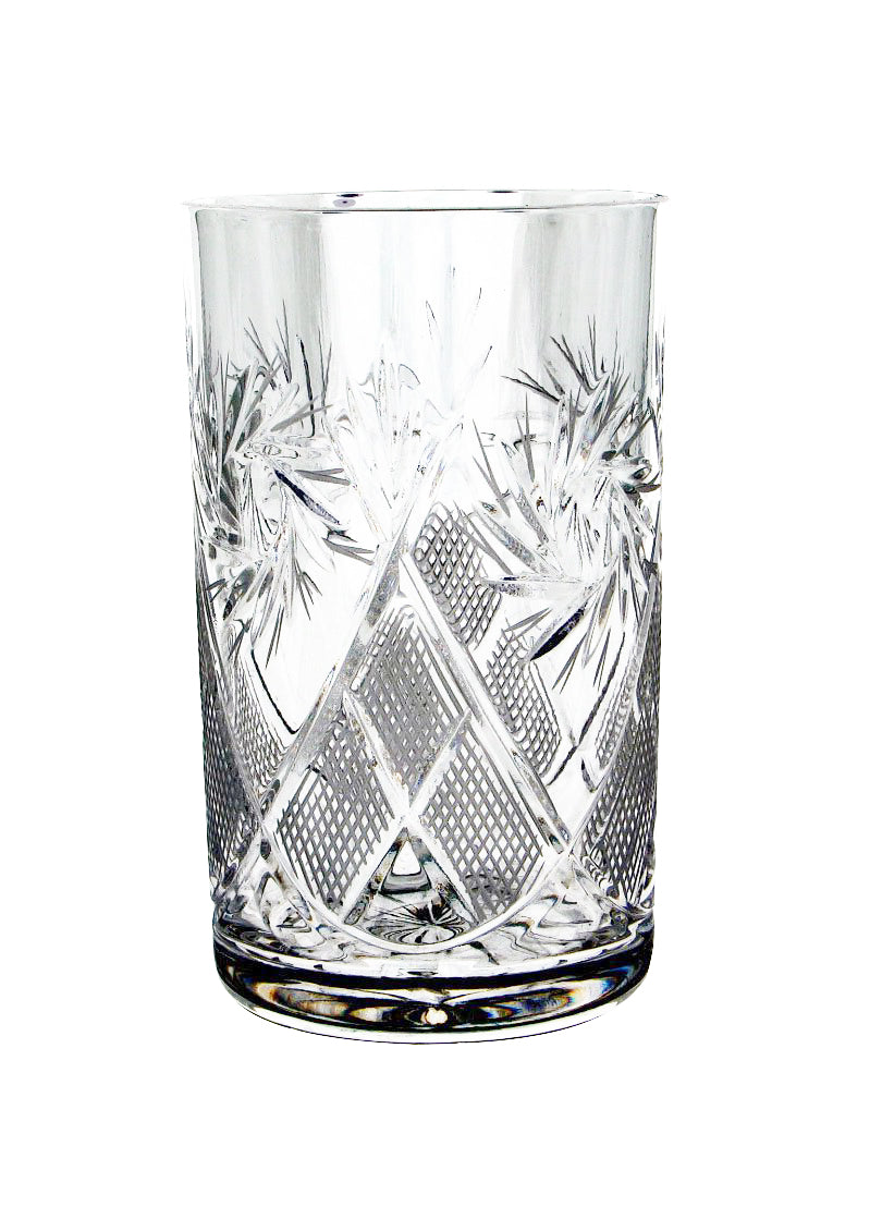 Russian Cut Crystal Glasses 8 oz for Metal Glass Holder Podstakannik Tea, Coffee