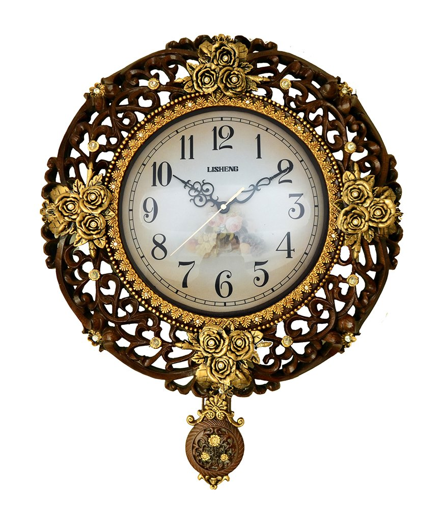 (D) Ornate Round Wall Clock 17 inches with Flowers Pendulum Mechanism