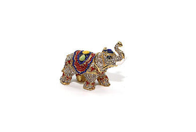 Multi-color Elephant 5-inch, Jewelry Box with Swarovski Crystal (Elephant)