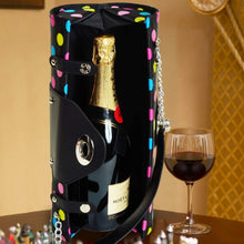 (D) Wine Bottle Carrier and Purse, Wine Holder, 30th Birthday Gifts (Dots)