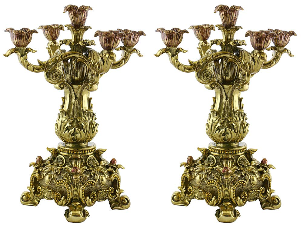 (D) Set of 2-pc Original Gold Baroque Candle Holders 15