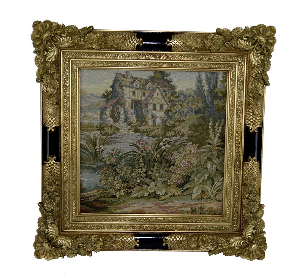 (D) Vintage Gilded Picture Frame 28x28 with Tapestry, Baroque Wall Hanging Frame