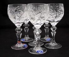 SET of 6 Russian CUT Crystal Shot Glasses on a Long Stem 65ml/2oz Hand Made