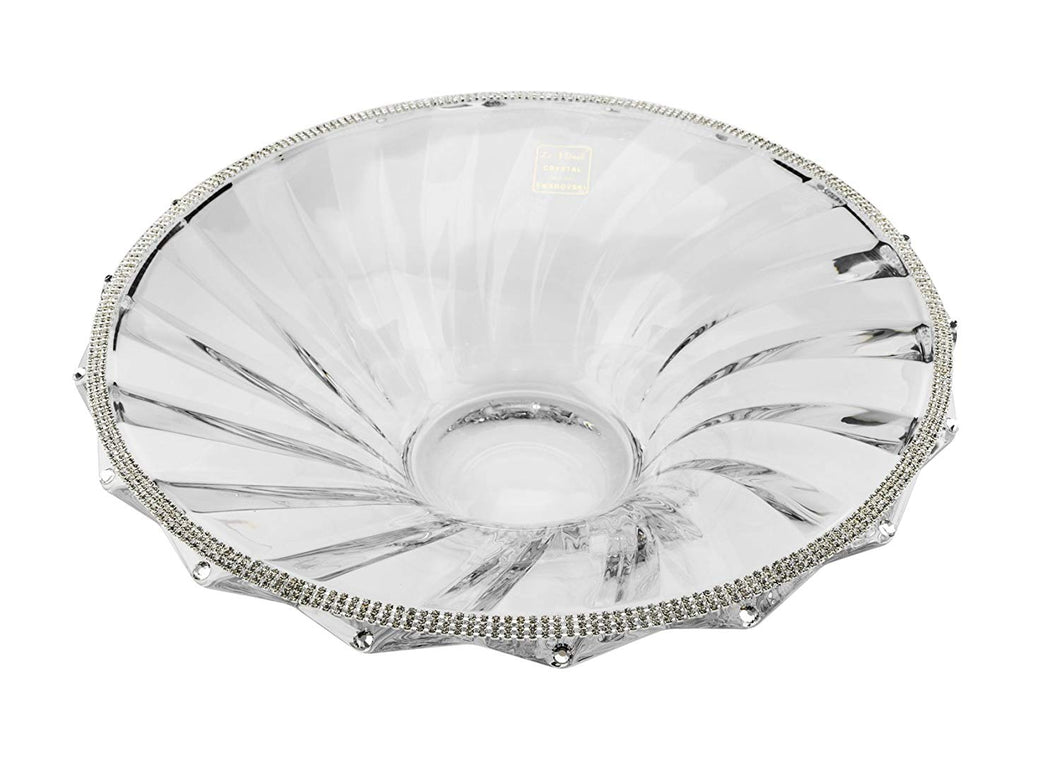 Italian Collection Crystal Bowl, Decorated with  Stripe Swarovski Crystal