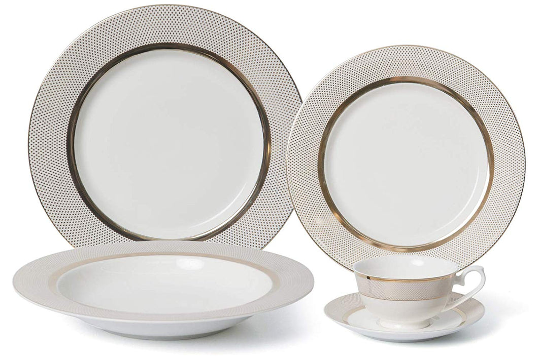 Royalty Porcelain Vintage Gold Dot 20-pc Dinnerware Set 'Pure Gold', Premium Bone China Porcelain
