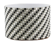 (D) Decorated Wine Coaster, Checkered Silver & Black, Wine Bottle Holder