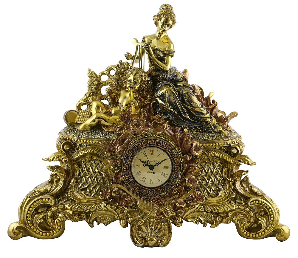 (D) Elegant Table Clock 16 x 19 inches Girl with Harp