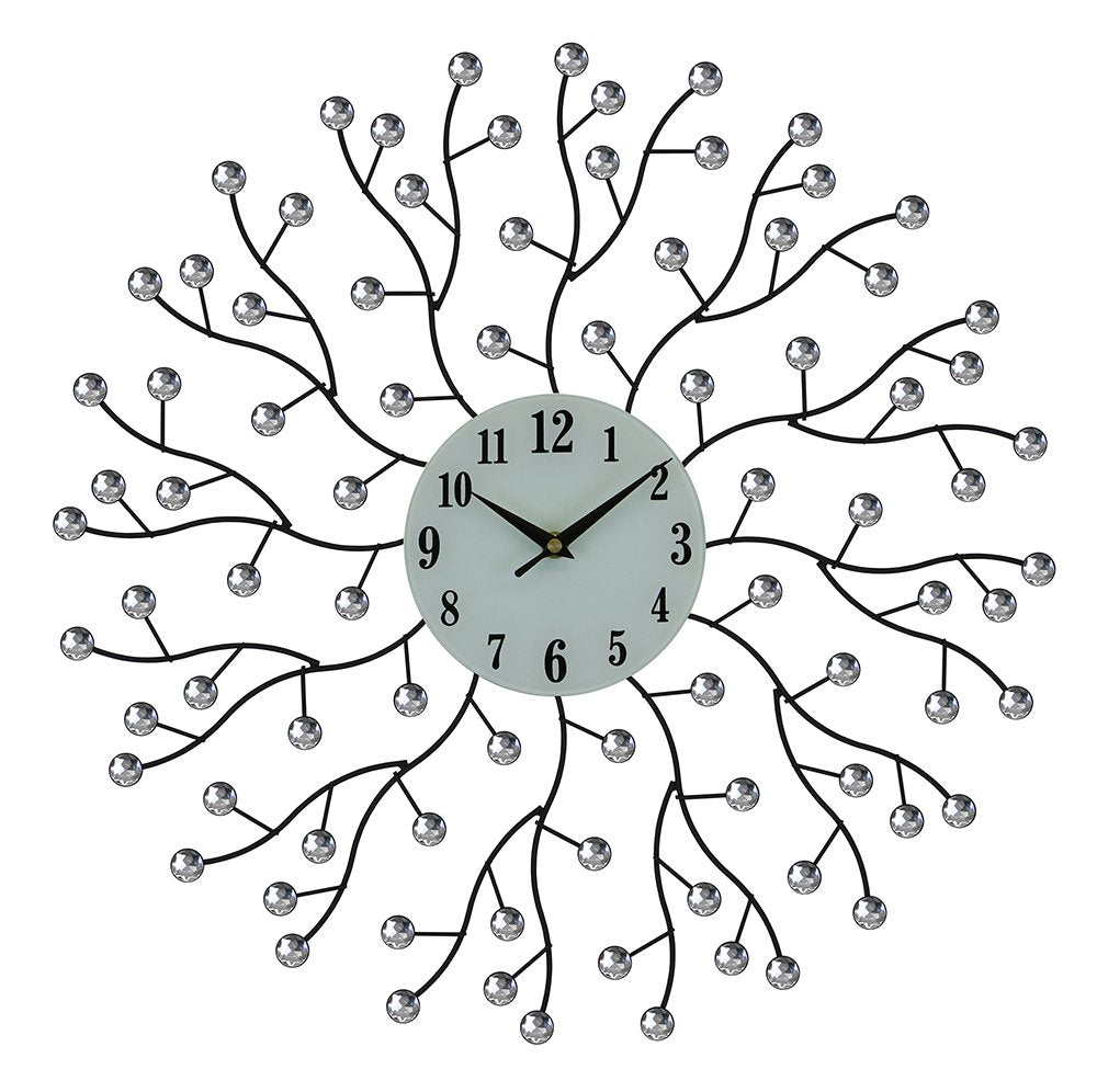(D) Ornate Round Wall Clock 20 inches with Abstract Branches and Crystals