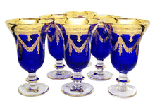 Interglass Italy Set of 6 Crystal Glasses, 24K Gold-Plated (Wine Goblets, Blue)