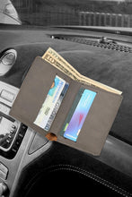 (D) Leatherette Wallets for Men 4'' x 3.25'' 6 Slots for Credit Cards (Grey)