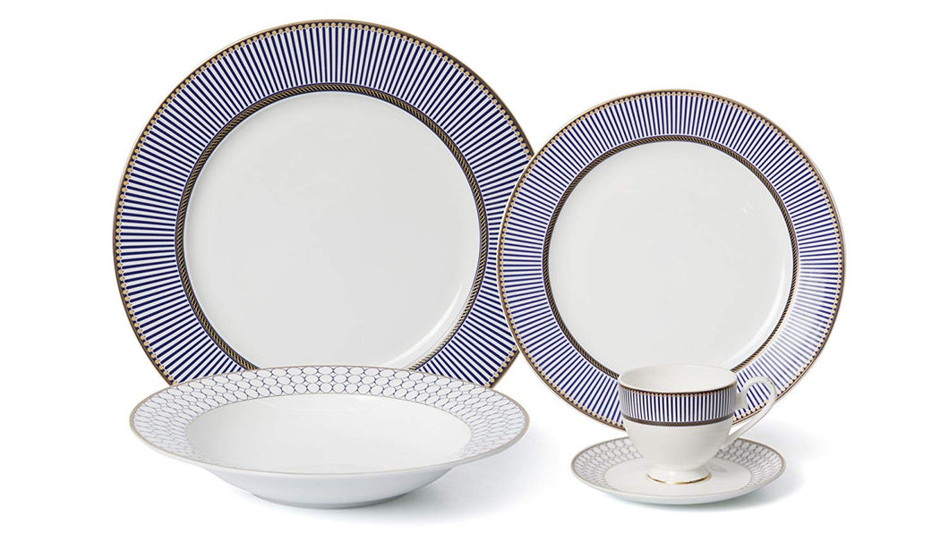 Royalty Porcelain 57-pc Banquet Dinnerware Set for 8, Gold Bone China (H019-57)