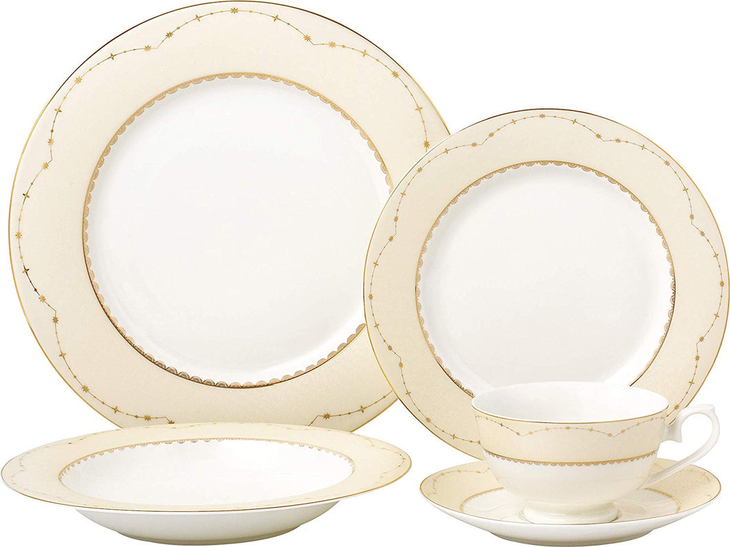 Royalty Porcelain Vintage Yellow Gold 20-pc Dinnerware Set 'Milky Way', Premium Bone China Porcelain