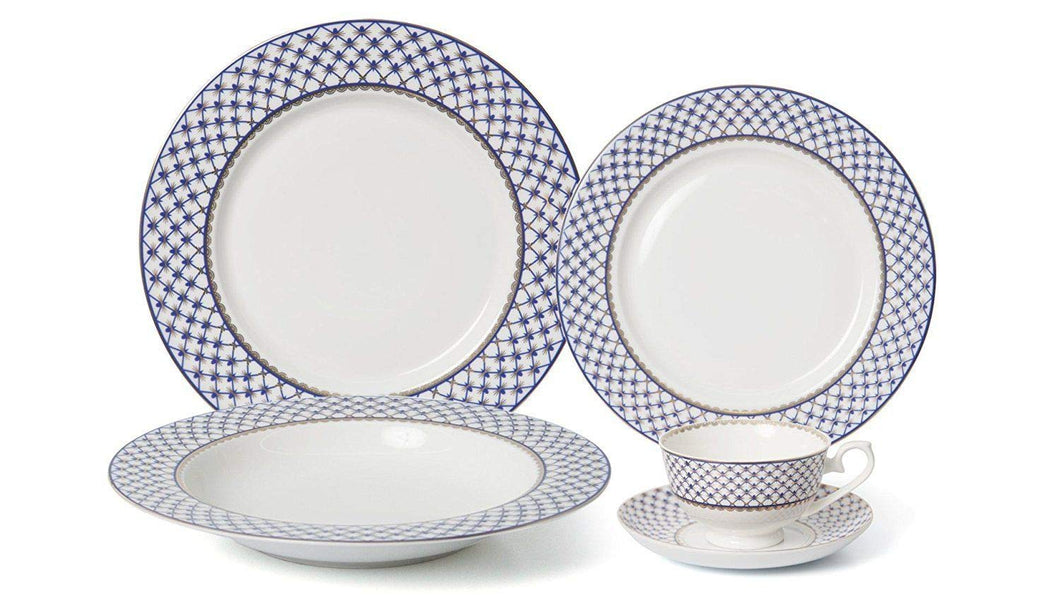 Royalty Porcelain 20-pc Dinner Set for 4, Premium Bone China (Villa Azure)