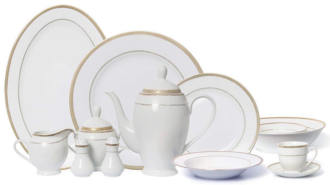 Royalty Porcelain Vintage Antique Gold 57-pc Dinnerware Set