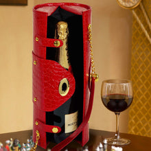 (D) Wine Bottle Carrier and Purse, Wine Holder, 30th Birthday Gifts (Red)