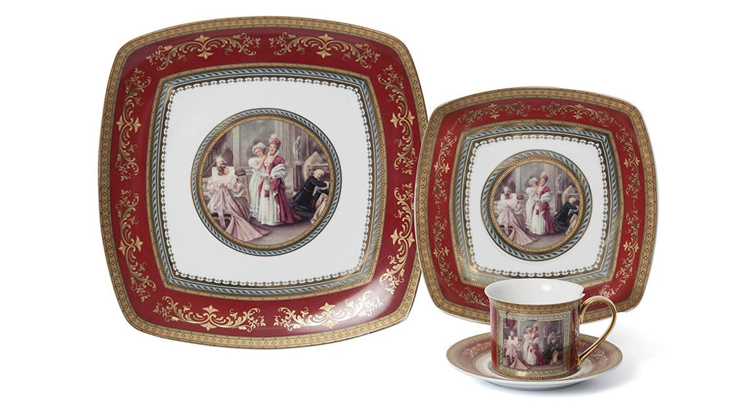 Royalty Porcelain Vintage Design Square 16-pc Dinnerware Set 'Red Madonna', Premium Bone China