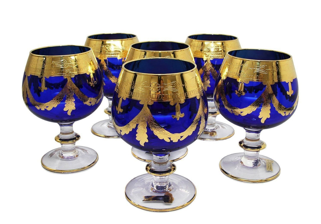 Interglass Italy Set of 6 Crystal Glasses, Gold-Plated (Cognac Snifters, Blue)