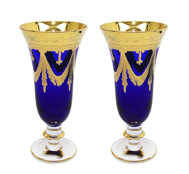 Interglass Italy Set of 2 Crystal Glasses, Gold-Plated (Champagne Flutes, Blue)