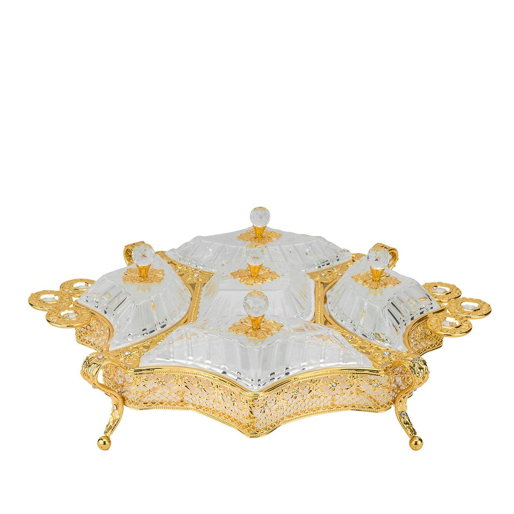 Italian Collection Gold Sectional Сandy Serving Tray with Handle for Candy