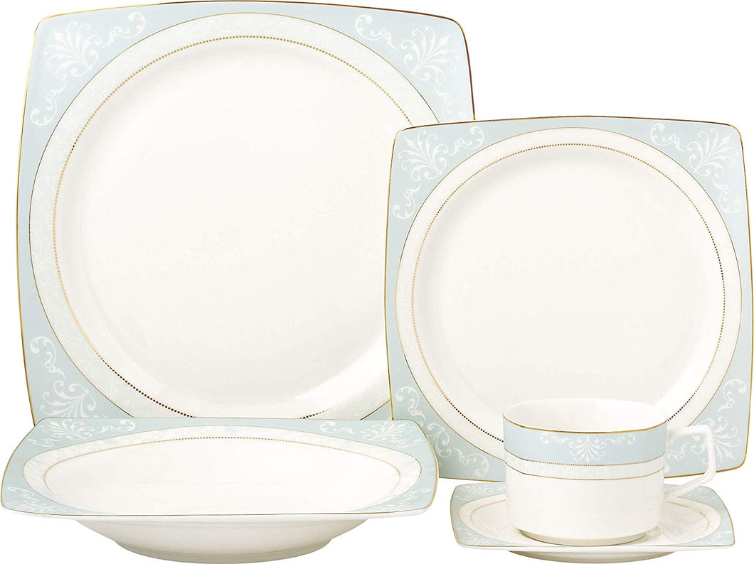 Royalty Porcelain Fancy Square Design 20-pc Dinnerware Set 'Tiffany Blue', Premium Bone China Porcelain
