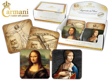 Carmani Painters 9pc Set of Cork Drink Coasters,  Da Vinci (Lady with an ermine)