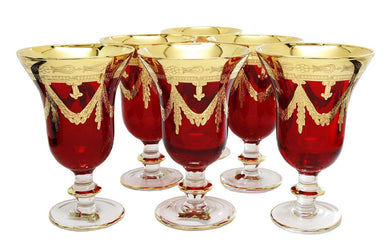 Interglass Italy Set of 6 Crystal Glasses, 24K Gold-Plated (Wine Goblets, Red)